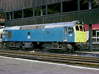 British Rail Class 25 - 25211 in BR blue at Manchester Victoria in 1980.