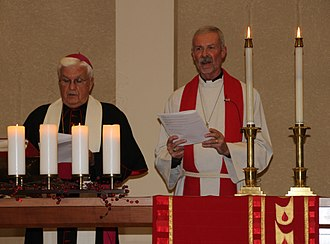 Reformation Day - Bishop John M. Quinn of the Roman Catholic Diocese of Winona and Bishop Steven Delzer of Evangelical Lutheran Southeastern Minnesota Synod leading a Reformation Day service in 2017
