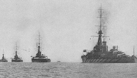 The 2nd Battle Squadron of the Grand Fleet in 1914. From left to right the ships are: King George V, Thunderer, Monarch and Conqueror. 2nd Battle Squadron.jpg