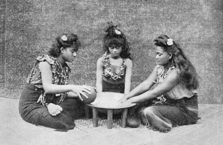 Studio photo depicting preparation of the Samoa 'ava ceremony c. 1911. 3 Samoan girls making ava 1909.jpg