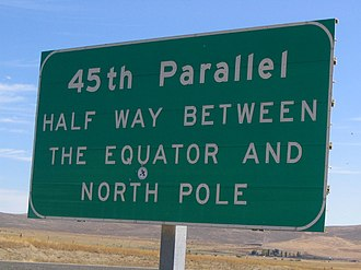 Baker City, Oregon - The 45th Parallel sign near Baker City, on Interstate 84