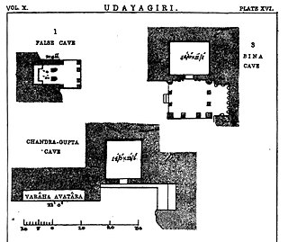 Udayagiri Caves - Udayagiri temples feature square or near square plans. Above: Plans of Cave 1, 3 and 5.