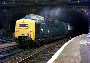 "East Coast Main Line - 55012 ""Crepello"" enters King's Cross in May 1976. The Class 55 Deltic was the main express locomotive on the ECML between 1961 and 1981."