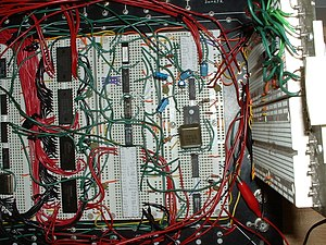 Transistor–transistor logic - A Motorola 68000-based computer with various TTL chips mounted on breadboards.