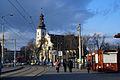 8886 Przystanek tramwajowy przy placu Wróblewskiego. W tle kościół św. Maurycego. Foto Barbara Maliszewska.jpg