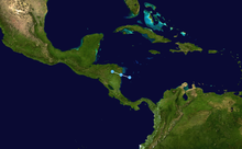 Track of a short-lived tropical depression over the southwestern Caribbean Sea
