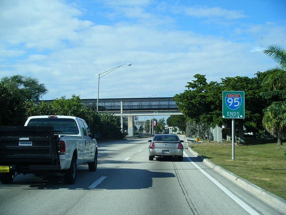 95 ends sign SB I-95