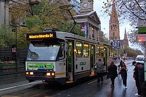 Melbourne tram route 64 - A class tram on Swanston Street in May 2012
