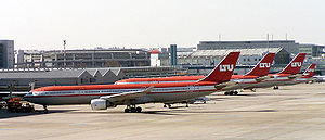 Düsseldorf Airport - Several LTU Airbus A330-300s at their Düsseldorf base in 2004