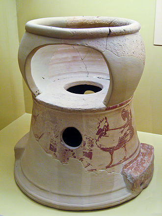 Chamber pot - Ancient Greek child seat and chamber pot,(portable toilet) early 6th century BC