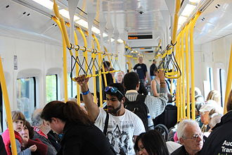 New Zealand AM class electric multiple unit - Inside an AM on the first day of revenue service.