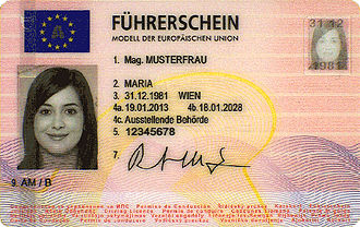European driving licence - Image: A Licence 2013 Front