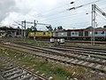 A duronto liveried Ghaziabad WAP-7 hauling Bhubaneswar Rajdhani.jpg