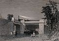 A line of soldiers on horseback is travelling under a bridge Wellcome V0040928.jpg