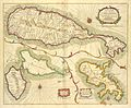 A new mapp of the Island of St. Christophers, being an actuall survey taken by Mr. Andrew Norwood, survey.r Gen.ll; A new mapp of the Island of Guardalupa; A New mapp of the Island Martineca (NYPL b13909432-1640617).jpg