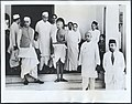 A news photo from 1939, showing Nehru, Gandhi, and Sardar Vallabhbhai Patel (to the right, in the foreground, wearing the dhoti) in Bombay.jpg