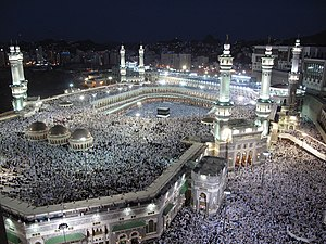 Holiest sites in Sunni Islam - Worshipers flood the Grand mosque, its roof, and all the areas around it during night prayers
