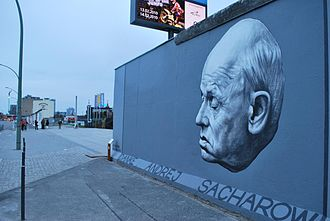 "Andrei Sakharov - ""Thank you Andrei Sakharov"" mural on the Berlin Wall"