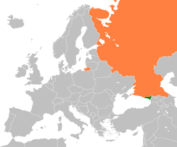 Map indicating locations of Abkhazia and Russia