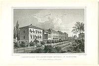 Adolfstrasse und Leibnitzens Denkmal in Hannover Kretschmer E. Höfer G. G. Lange 1857.jpg