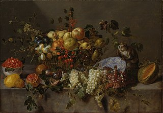 Still Life with Fruit and a Monkey eating Grapes