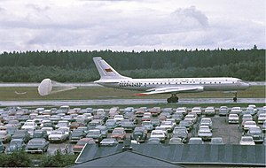 Tupolev Tu-104 - Aeroflot Tupolev Tu-104B at Arlanda Airport in 1968, with drag parachute deployed.