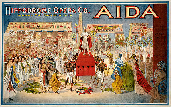 Poster for a 1908 production in Cleveland, showing the triumphal scene in act 2, scene 2 Aida poster colors fixed.jpg