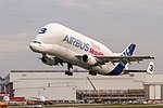 Airbus Transport International Airbus A300B4-608ST departing to Toulouse (TLS LFBO) @ Hamburg Finkenwerder (XFW EDHI) (30336966797).jpg