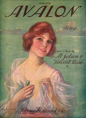 "1920 in jazz - Sheet music cover of Al Jolson's ""Avalon"""