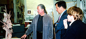 Albert Paley - Paley (left) shows off his studio in 2006 to Dana Gioia and Louise Slaughter.