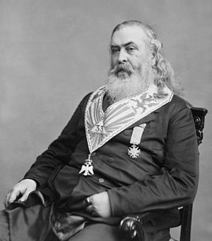 Albert Pike - Albert Pike in Freemason insignia by Mathew Brady