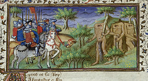 Roman d'Alexandre en prose - Alexander encounters the Blemmyae, who have their faces on their chests (BL Royal MS 20 B xx, c. 1420)