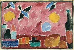 Aleksej von Jawlensky: Still Life with Bottle, Bread and red Wallpaper with Swallows