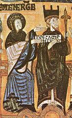 Sección de la miniatura medieval donde están Alfonso III el Magno y la reina Jimena a su izquierda