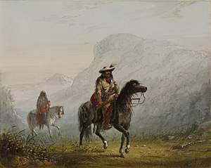 "Squaw - ""'Bourgeois' W---r, and His Squaw""  Drawing shows a white trapper and his Native American wife/partner."