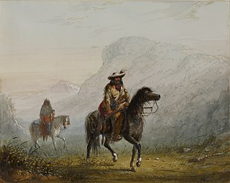 "Squaw - ""Painting by Alfred Jacob Miller, titled Bourgeois W—r, and His Squaw"""
