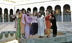 Women in Algeria - Algerian women dressed in traditional garbs.