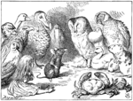An illustration by John Tenniel depicting Alice with some creatures from Wonderland.