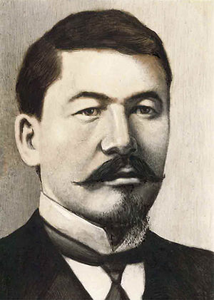 Alikhan Bukeikhanov, a Kazakh statesman who served as the Prime Minister of the Alash Autonomy from 1917 to 1920. Alikhan Bukeikhanov.jpg