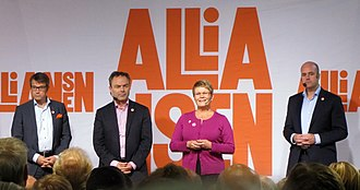 Alliance (Sweden) - The Alliance the day before the 2010 election. From left to right: Hägglund, Björklund, Olofsson and Reinfeldt