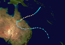 Map of eastern Australia and the western South Pacific Ocean with a color-coded track that shows the path of the cyclone
