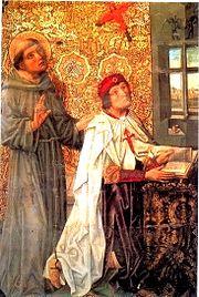 Don Álvaro de Luna con la capa de la Orden y cruz de Santiago al pecho, del retablo de Sancho de Zamora en la capilla de Santiago en la Catedral de Toledo. Fue Gran Maestre de la Orden desde 1445 a 1453.