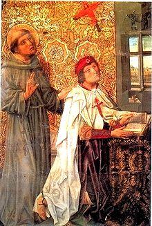 Don Álvaro de Luna con la capa de la Orden y cruz de Santiago al pecho, del retablo de Sancho de Zamora en la capilla de Santiago en la Catedral de Toledo. Fue Maestre de la Orden desde 1445 a 1453.