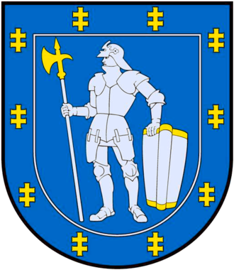 Pollaxe - Warrior holding a pollaxe in the coat of arms of Alytus County, Lithuania