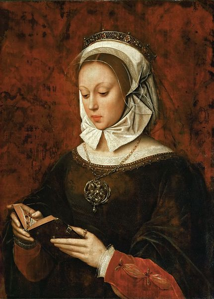 https://upload.wikimedia.org/wikipedia/commons/thumb/3/3f/Ambrosius_Benson_-_Young_Woman_in_Orison_Reading_a_Book_of_Hours_-_WGA1891.jpg/431px-Ambrosius_Benson_-_Young_Woman_in_Orison_Reading_a_Book_of_Hours_-_WGA1891.jpg
