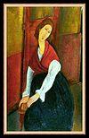 『赤いショールを纏ったジャンヌ・エビュテルヌ』(1917)
