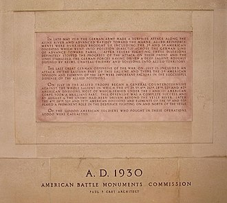 Battle of Château-Thierry (1918) - Plaque of commemorative text from the memorial