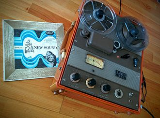 "Ampex 601 - Ampex 601 playing a recording of ""Les Paul's New Sound"". Made in Redwood City, California. Circa 1956."