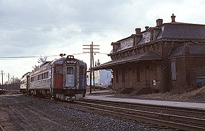 Windsor station (Connecticut) - An Amtrak train at Windsor in 1980