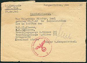 Amtsdokument Paul Fischer 1945 Hauptmann 14. Kompanie III.114 T. Gr. 30 Bergewöhrden Auszeichnungen Major und Kompaniechef.jpg